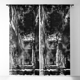 lost place dark hallway splatter watercolor black white Blackout Curtain