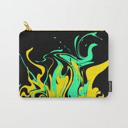 Yellow green abstract pattern on a black background .  The splash of waves . Carry-All Pouch