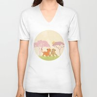 lions V-neck T-shirts featuring two lions..  by studiomarshallarts