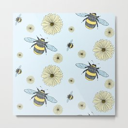 Bumble Bees and Flowers Metal Print