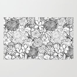 Clean & bright white flowers Rug
