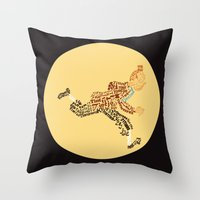 tintin Throw Pillows featuring Tintin in type by jammyjambob