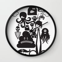 monster inc Wall Clocks featuring Monster Collection Inc  by Dei Hendrick