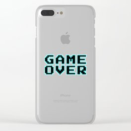 GAME OVER (blue) Clear iPhone Case