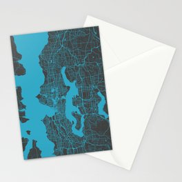 Seattle map blue Stationery Cards