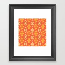 Orange Tribal Print Framed Art Print
