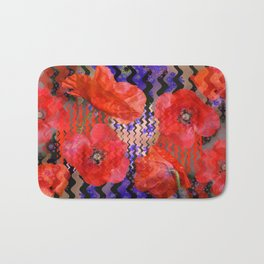 Summer Joy, abstract waves with poppies Bath Mat