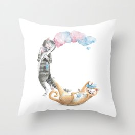 C is for Cats with Cotton Candy -ABC's by Brandie Lee - Laugh-A-Bit Alphabet BirdFlyOver Throw Pillow