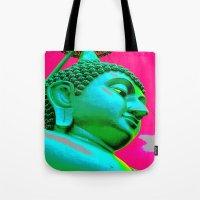 buddah Tote Bags featuring Buddah Head 05; Pink Dachori by Kether Carolus