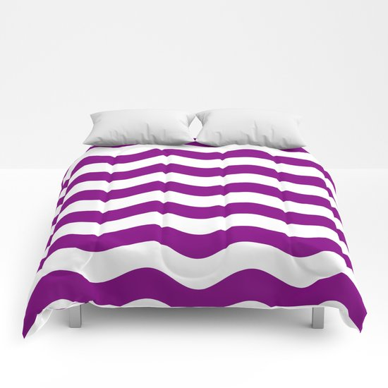 Wavy Stripes (Purple/White) Comforters