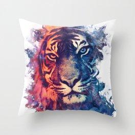Tiger Portrait Smokey Watercolor Throw Pillow