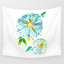 Lakeside Watercolour Blue Daisies Wall Tapestry