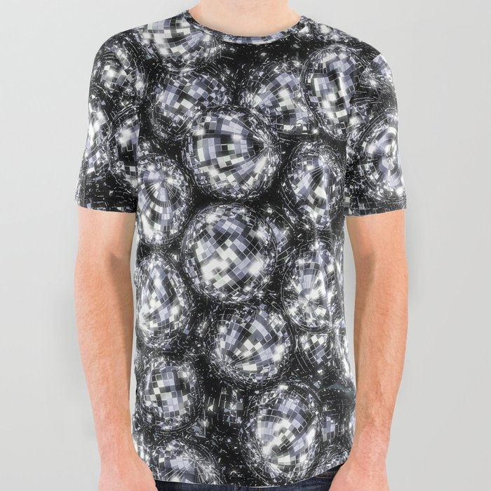 ecf379e74 It's Full of Disco / 3D render of hundreds of shiny mirror balls All Over  Graphic Tee