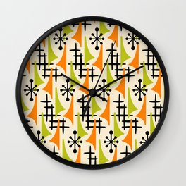 Mid Century Modern Atomic Wing Composition Orange and Chartreuse Wall Clock