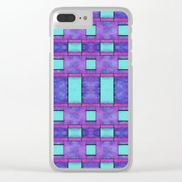 Painted cyan and magenta parallel bars Clear iPhone Case