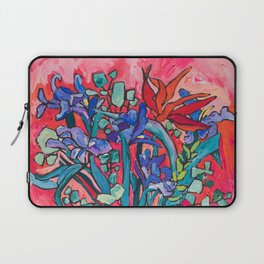 Persephone Painting - Bouquet of Iris and Strelitzia Flowers in Greek Horse Vase Against Coral Pink Laptop Sleeve