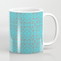 gray pattern Mugs featuring Turquoise and Gray Pattern  by xiari