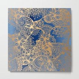 Blue and Gold Zen Doodles Metal Print
