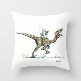 Drunk Panda riding Velocirraptor Throw Pillow