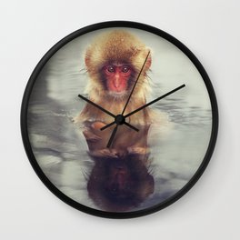 Reflecting Snow Monkey Wall Clock