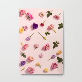 Floral pattern with pink tulips, flowers and leaves Metal Print