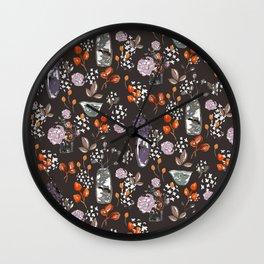 Sepia Bouquets Wall Clock