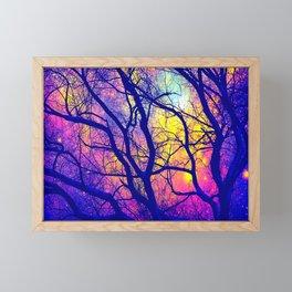 Black Trees Deep Bright & Colorful Space Framed Mini Art Print