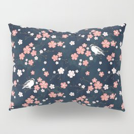 Navy blue cherry blossom finch Pillow Sham
