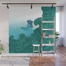 Surfer dude hangin ten and catching a wave Wall Mural