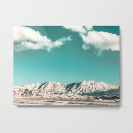 Vintage Desert Snowcaps // Sandy Mojave Covered in Snow at Red Rock Canyon National Park Nature Metal Print