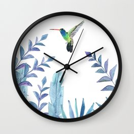 Hummingbird with tropical foliage Wall Clock