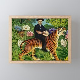 Henri Rousseau Dreaming of Tigers tropical big cat jungle scene by Henri Rousseau Framed Mini Art Print