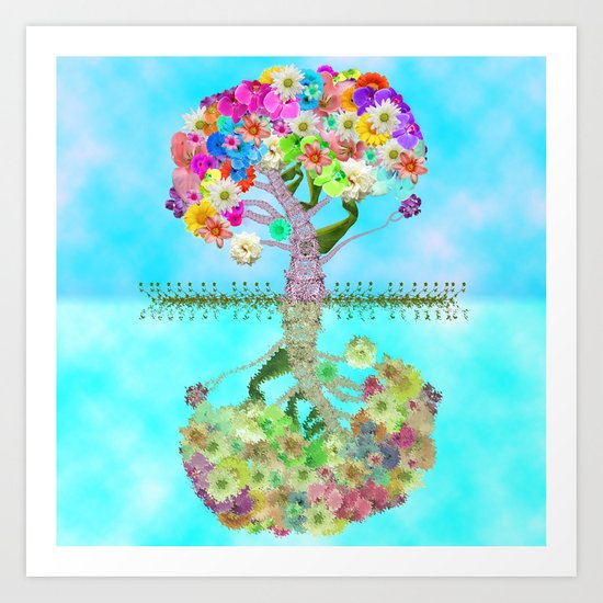 Cute Whimsical Bright Floral Tree Collage Teal Sky Art Print