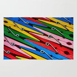 Rainbow of Clothespins Rug