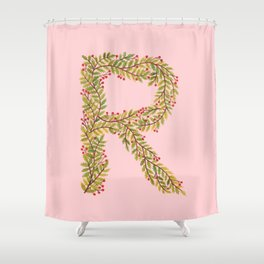 Leafy Letter R Shower Curtain
