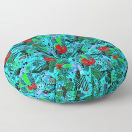 80's Abstract Earring Doodle 5 Floor Pillow