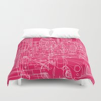 hot pink Duvet Covers featuring London! Hot Pink by David Bushell