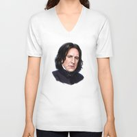 snape V-neck T-shirts featuring Sad Snape by Annike