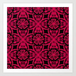 Red Lace on black . Art Print