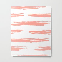 Pretty Pink Brush Stripes Horizontal Metal Print