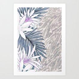 Denim Blooms Forever Art Print