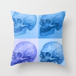 Blue skulls Throw Pillow
