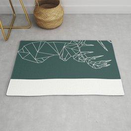 Geometric Stag (White on Slate) Rug