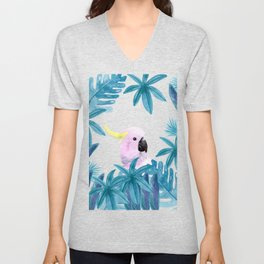 Cockatoo with tropical leaves Unisex V-Neck