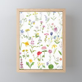 botanical colorful countryside wildflowers watercolor painting Framed Mini Art Print