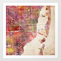 miami Art Prints featuring Miami by MapMapMaps.Watercolors