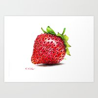 strawberry Art Prints featuring Strawberry by CipiArt