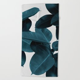 Indigo Plant Leaves Beach Towel