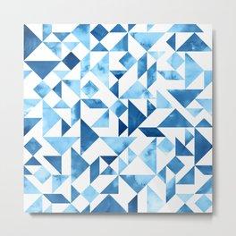 Blue Tangram Composition Metal Print