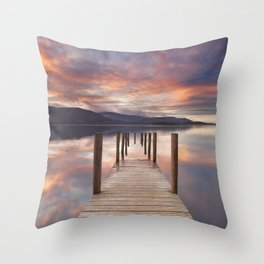 Flooded jetty in Derwent Water, Lake District, England at sunset Throw Pillow